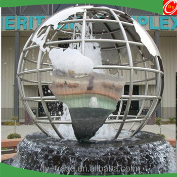 Garden Fountain Stainless Steel Ball with World Map