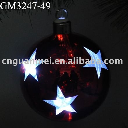 Wholesale string light mercury glass light up ball christmas toys 2014 with star