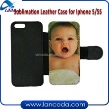 sublimation flip leather phone case for iphone5/5s