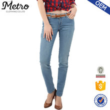 High quality customized korean women skinny jeans fancy denim plus size