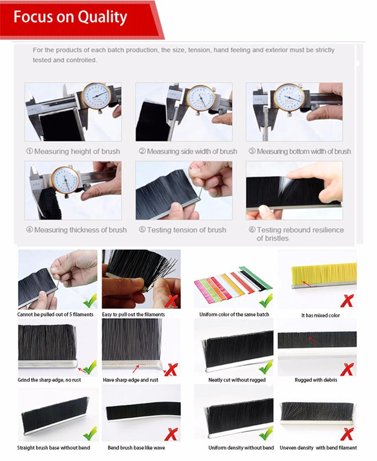 High Tenacity Anti-pinch Inflaming Retarding Escalator Skirt Panel Brush