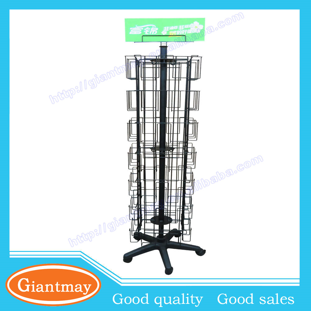 56 pockets 4 sides rotating metal post card display stand