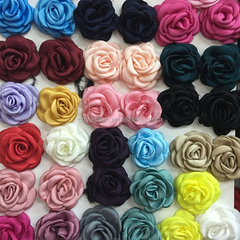 2'' Satin Burned Rolled Rosette Flower Soft Satin Hair Flower IN STOCK
