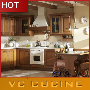 American style modern hot solid wood kitchen cabinet