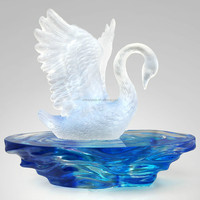 ARTBAY coloured glaze pate de verre crystal glass swan with base for decoration