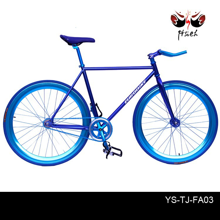 700*23C single speed fixed gear old style bicycle with anodized metal finish