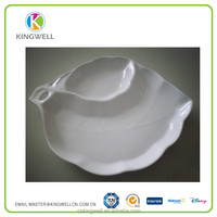 New products Factory Wholesale Price White Leaf Shape Melamine Divided Fruit Dishes Plates