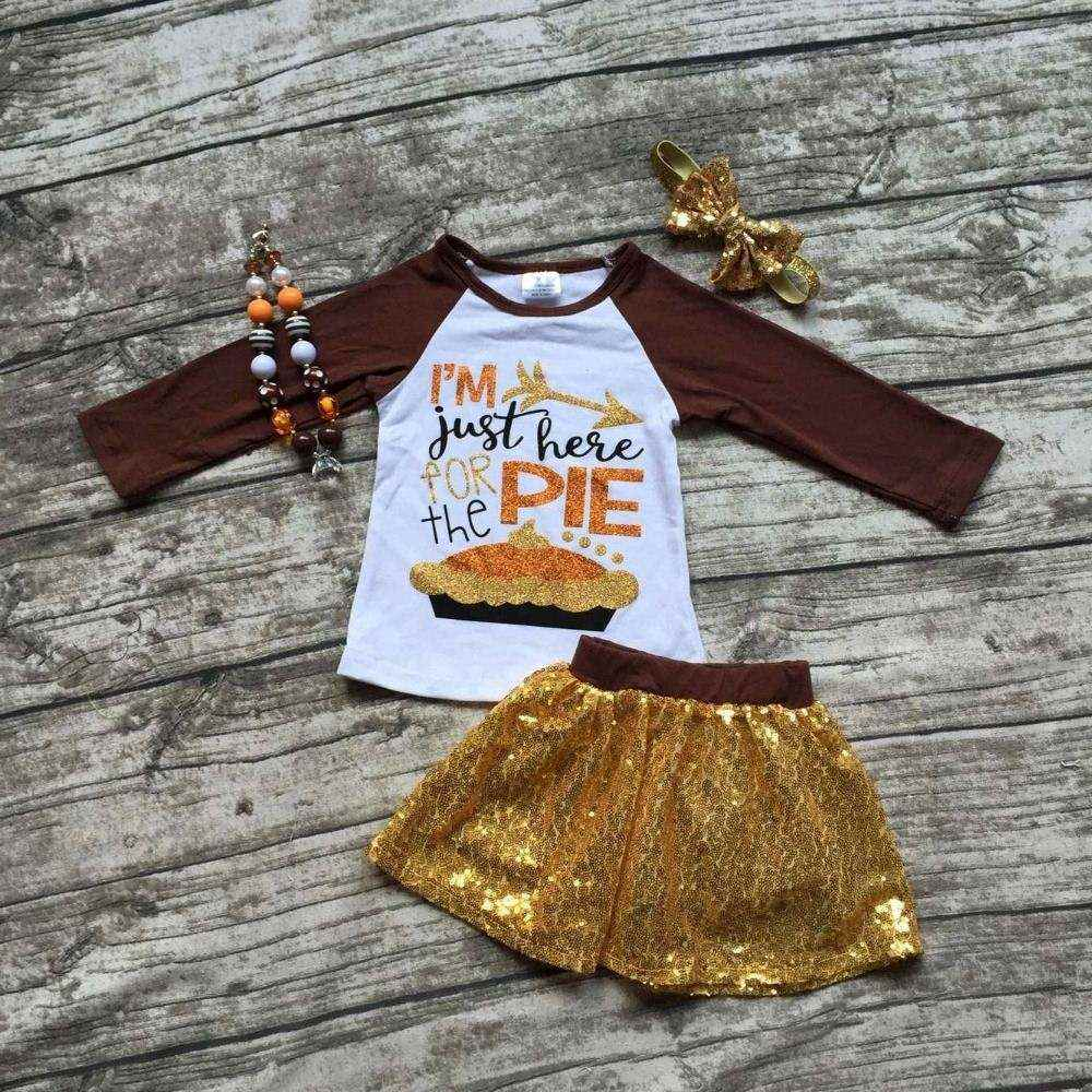Girls fall boutique clothes girls I am just here for the pie clothes girls top with sequin skirts sets with accessoreis