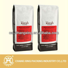 aluminium foil white coffee bag with sticker lable/coffee bag with sticker