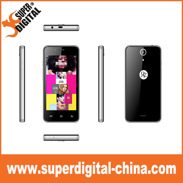 4inch WVGA low end 3G quad core smart phone 512+4G 0.3+2MP 1400mAh