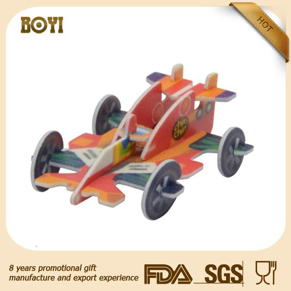 DIY cartoon Colorful 3D Car puzzle for kids toy