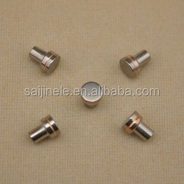 Manufcture Russian 5*1.6+2.6*1.8 copper welded wolfram disc contact point rivets plating Nickel