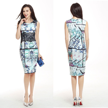 JS 20 In Stock Items Elegant Summer Casual Chinese Style Graffiti Design Lady Stitching Cotton Dress 741