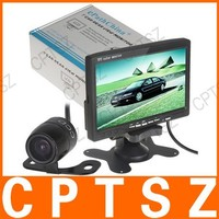 "7"" TFT LCD Display Color 2 Video Input Car RearView Headrest Monitor DVD VCR Monitor + Car Rear View Parking Camera Kit"