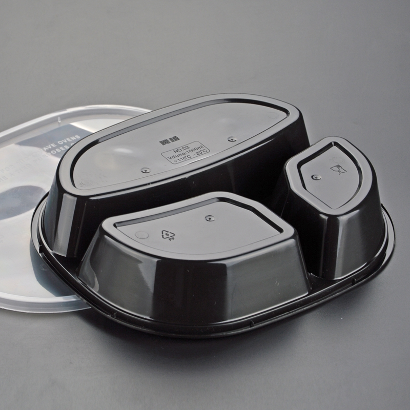 More thicker good airtight disposable <strong>pp</strong> 3 compartment food container