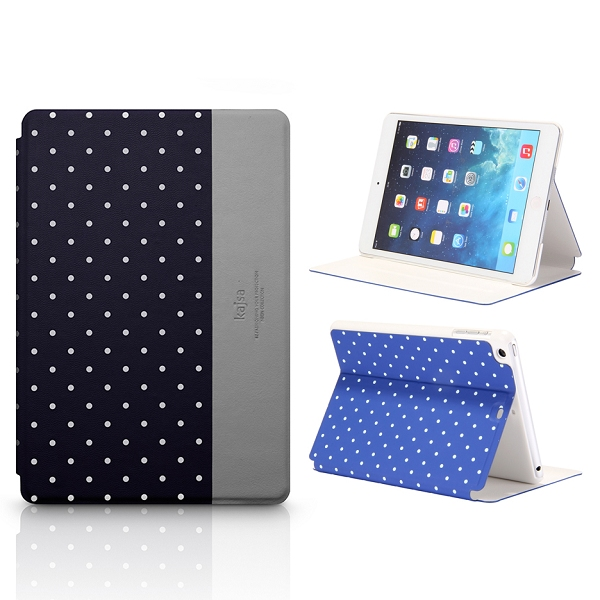 Kajsa Polka Dots Pattern Stand Flip Leather Case for iPad Mini 2 Retina