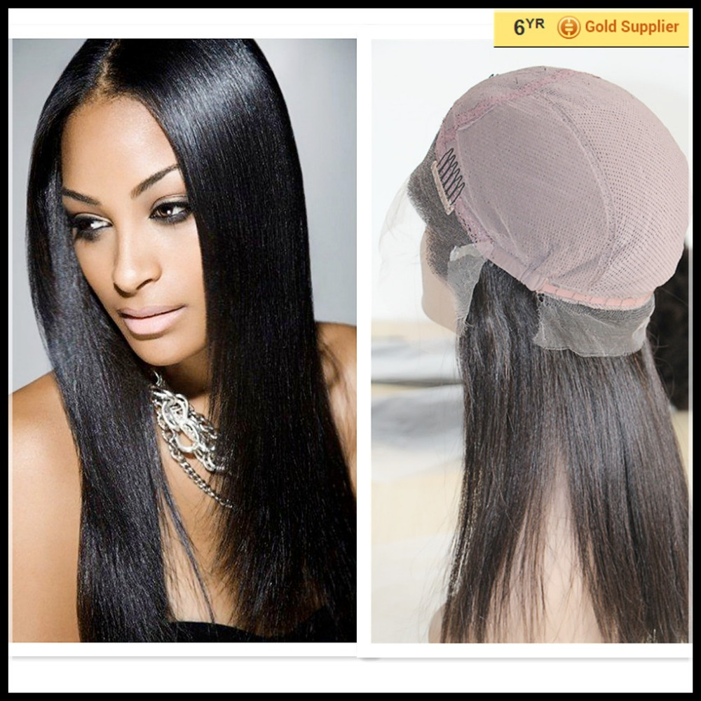 light Yaki brazilian Virgin human hair full lace wig