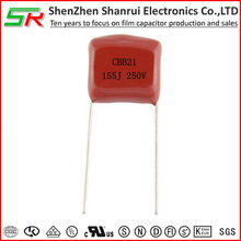 MPP film capacitor 250vac 155j 20mm cbb21 capacitor for television