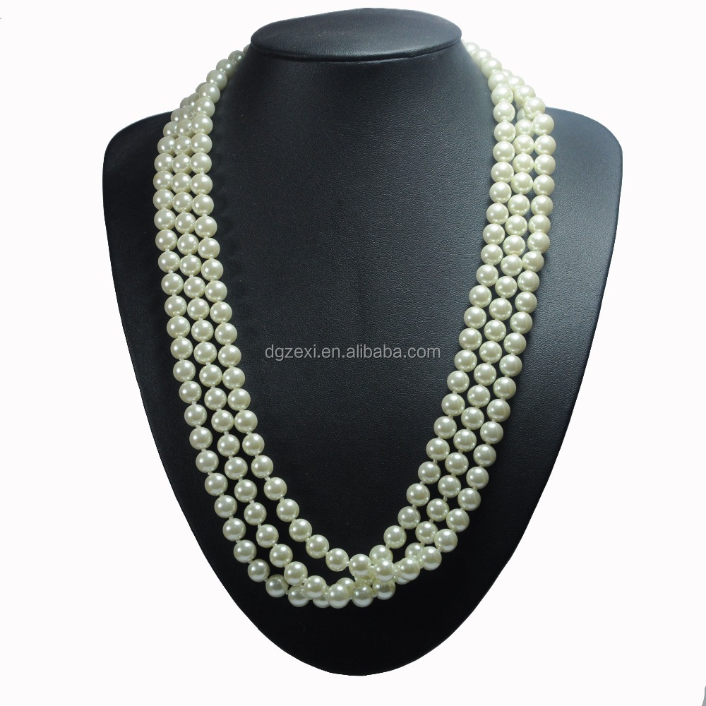Handmade Fashion 3 strands Glass White Pearl Rope Choker Necklace