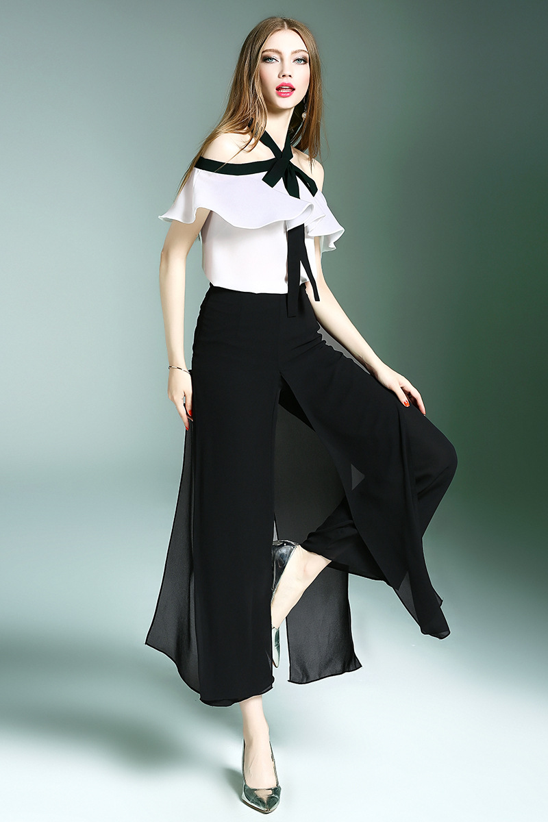 Latest design summer off Shoulder Broad leg pants two piece women suit