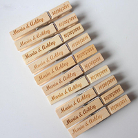 custom natural laser engraved wooden pegs for photo clothes hanging