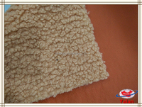 Camel color synthetic pu leather fabric bonded with lamb fur