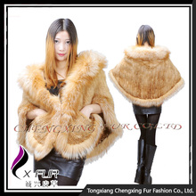 CX-B-M-99A In stock Fashion Real Knitted Mink Fashion Fur Shawl For Women