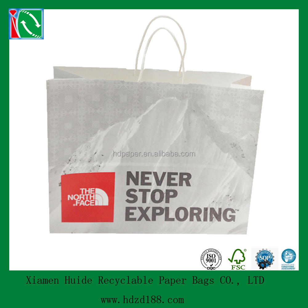 2015 flexo printing shopping paper bag with logo print