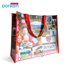Custom Pattern Printed Glossy Handle Shopping RPET Bags With Button