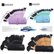 VANDER 32 PCS Set Professional Makeup Brush Foundation Eye Shadows Lipsticks Powder Make Up Blush Brushes Tools Folding Bag Kit