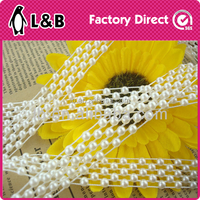 2015 wholesale high quality pearl and rhinestone mesh trimming