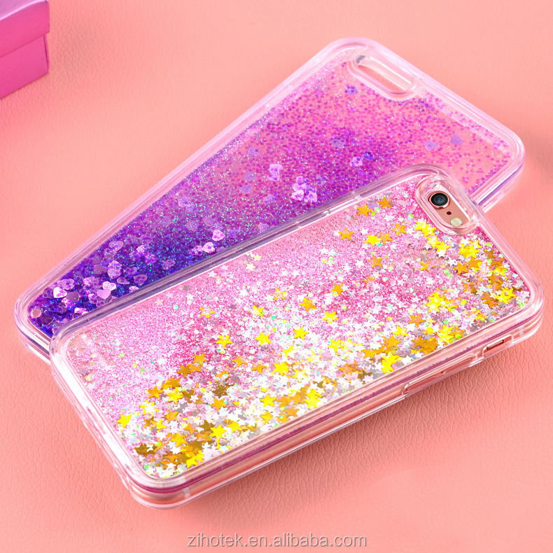 2017 Most popular Sale Bling sand Liquid Glitter Quicksand TPU Phone Case for <strong>iPhone</strong> 5/6/7Plus