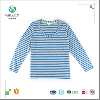 100% Cotton Wholesale Women Long Sleeve Stripe T shirt Design