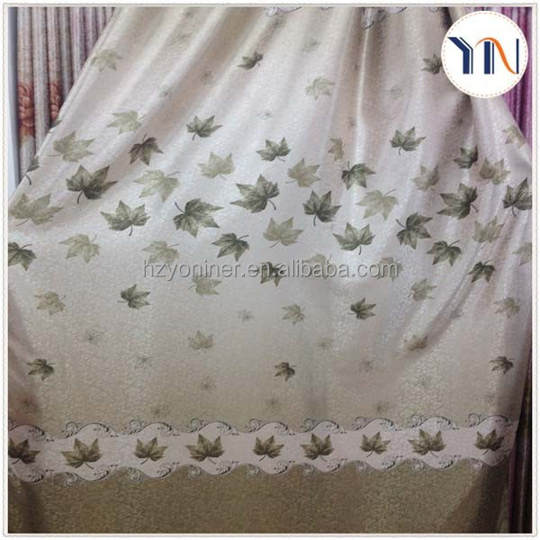 beautiful print design blackout curtain fabric,print blackout fabric,leaf design curtain fabric