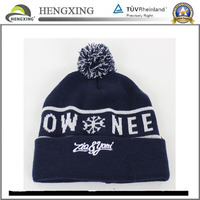 Wholesale Custom Embroidery Free Pom Knitted Slouch Beanie Hat