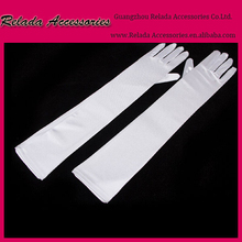Factory wholesale White Satin long evening gloves for women