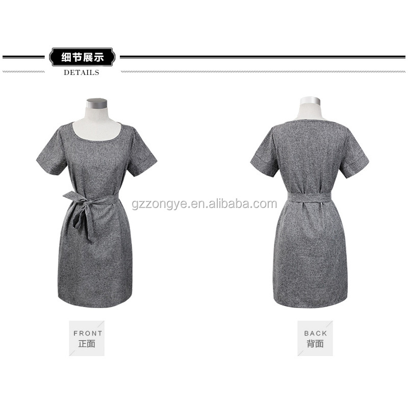 European style of summer new big size women's wear of short sleeve flaxen dresses linen frock skirt
