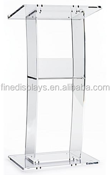Acrylic Podium for Floor, Open Back with Shelf, Curved - Clear