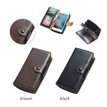 Classical Detachable Back Cover Flip Pouch Genuine Leather Case Zipper Wallet Card Multifunction Phone Bag For iPhone 7