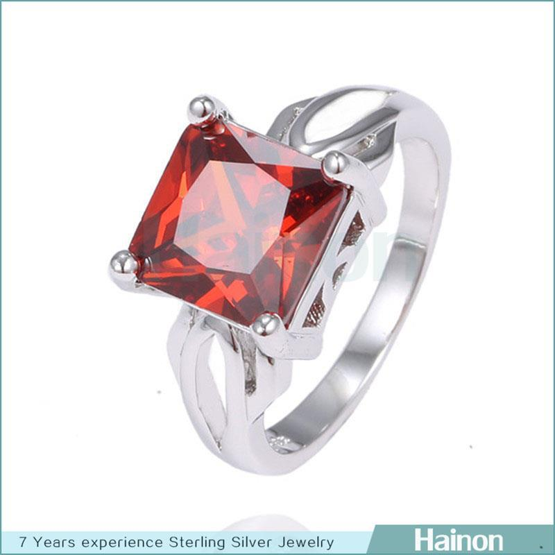 large square crystal paved on finger ring for women