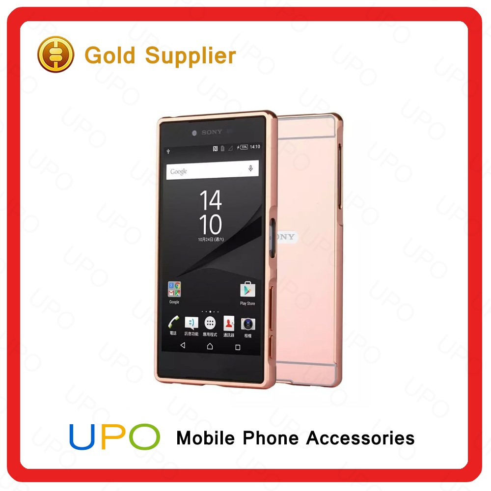 [UPO] Luxury Electroplate Mirror Back Cover + Metal Aluminum Bumper Frame Case For Sony Xperia Z5