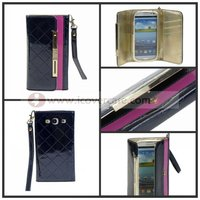 2013 NEW FASHION,ELEGANT LADY strass wristlet wallet purse leather pocket pouch case for Samsung galaxy s3 SIII i9300