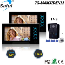 Saful 7'' wired touch screen color video door phone Intercom system video doorbell IR 1 outdoor camera +2 monitor