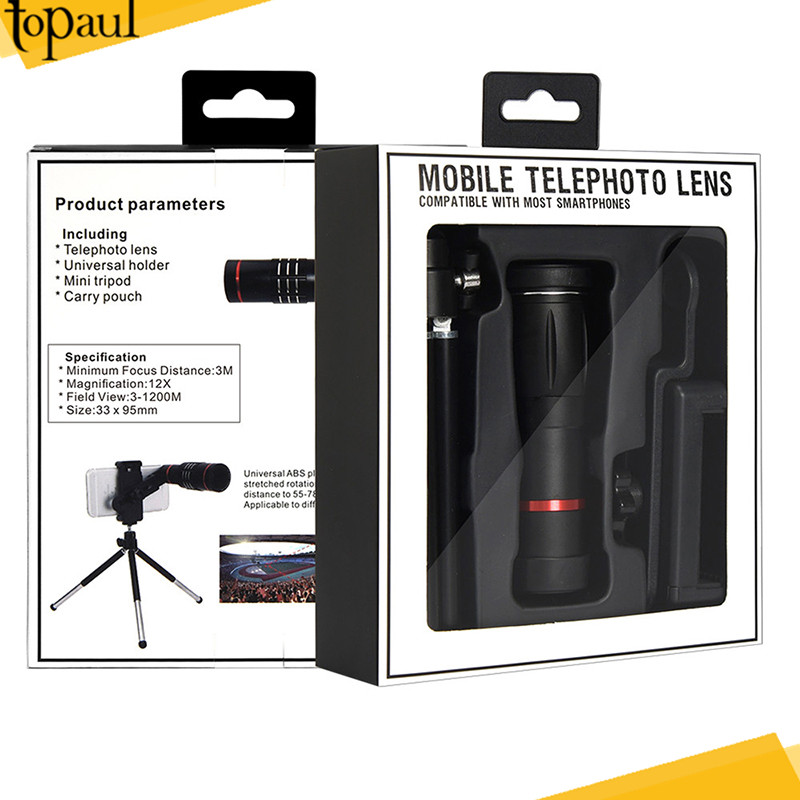Best selling 12X zoom clip phone camera lens kit manual focus telescope lens for mobile phone