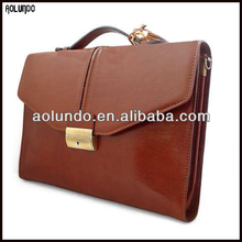 Fashion high quality file briefcases vegetable tanned leather bag