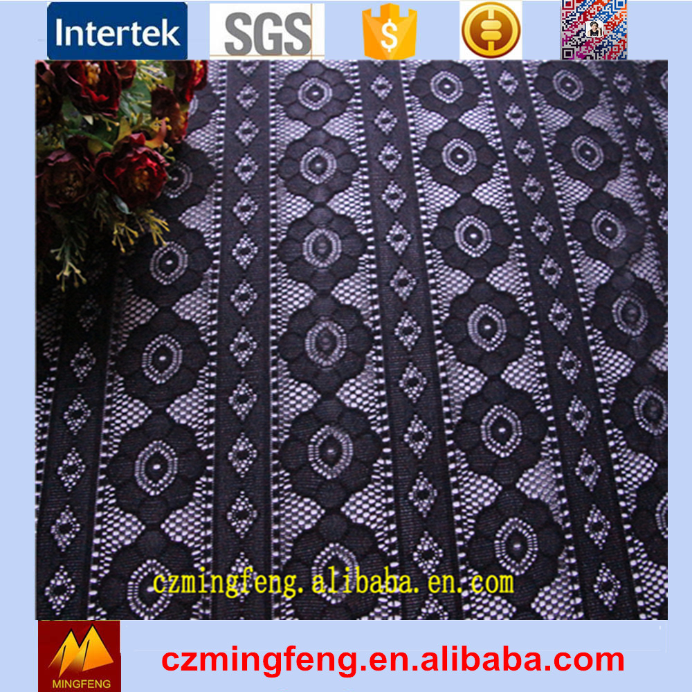 Embroidery Lace Curtain Jacquard Fabric For Garment