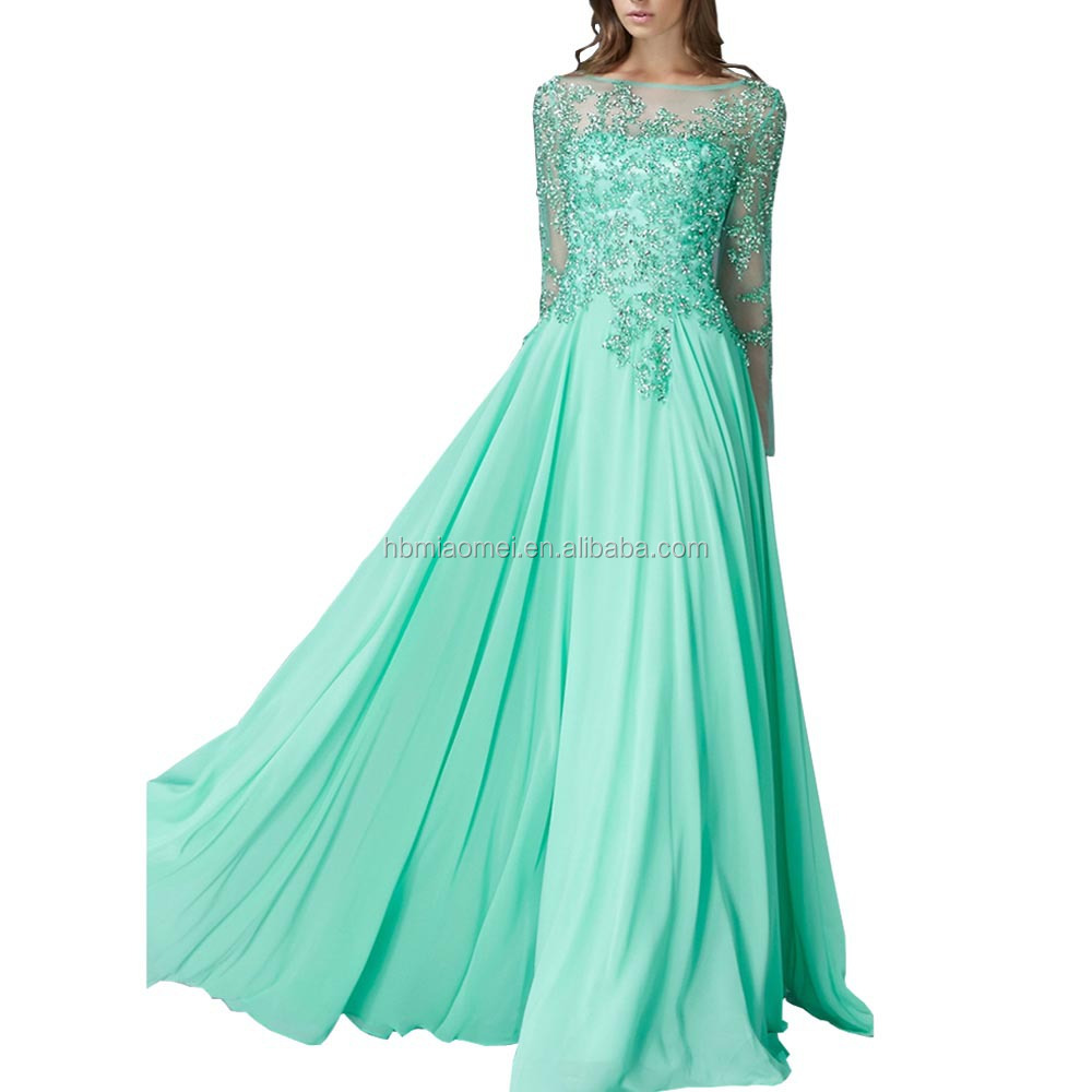 Hot sell green color floor length evening dress hand beaded lace backless long lsseve mermaid evening dress for bride