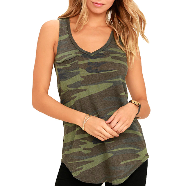 Custom high quality sports fitness gym running workout womens camouflage tank top