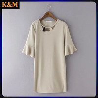 ladies latest casual dress ruffle sleeves dress for women home casual dress for women