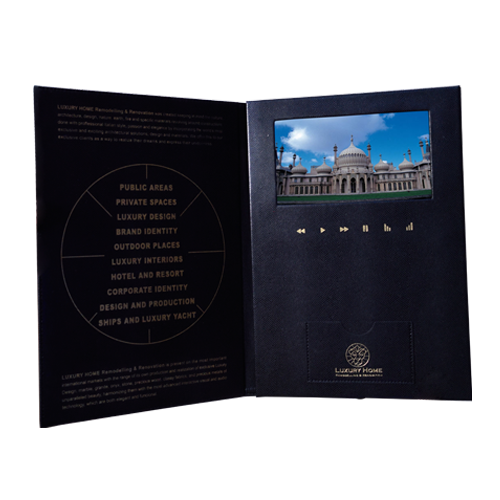 Luxury PU Leather 2.4 4.3 5 7 10 lcd gift video booklet video brochure for invitation